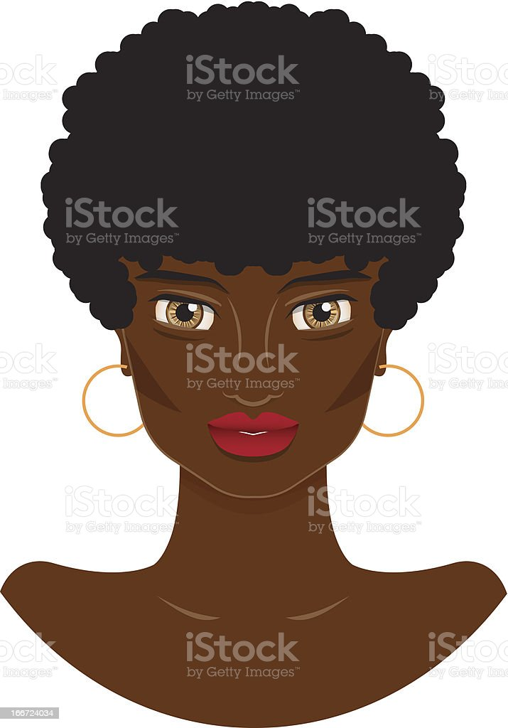 beautiful African-American woman with short hair royalty-free stock vector art