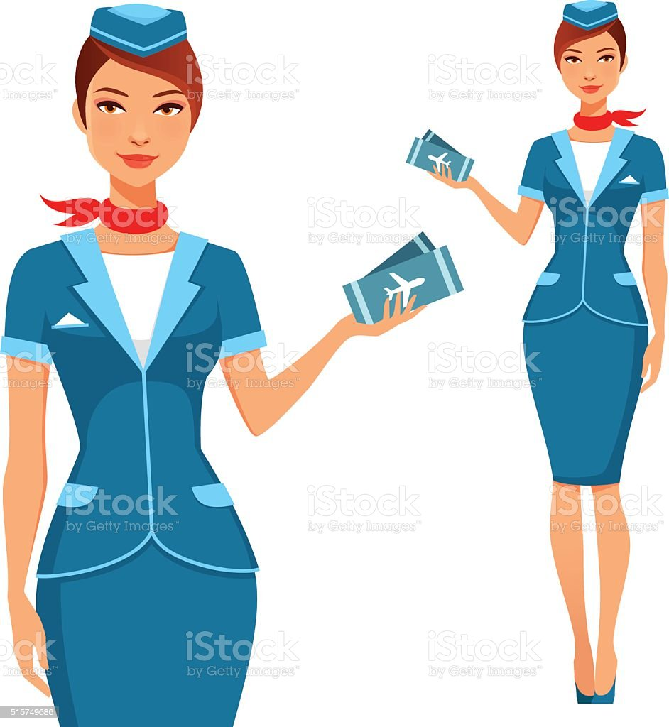beautiful air hostess holding plane tickets vector art illustration