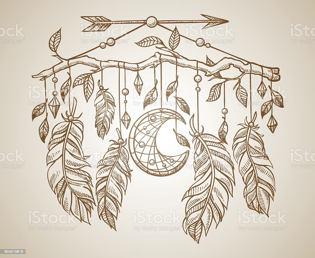Beautiful amulet for shamanism with a crescent moon vector art illustration