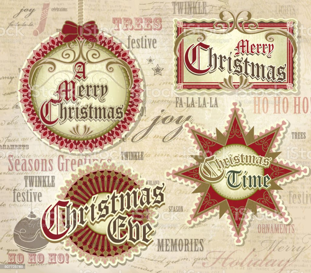 Beautiful and elegant Vintage Christmas ornament designs word pattern background vector art illustration
