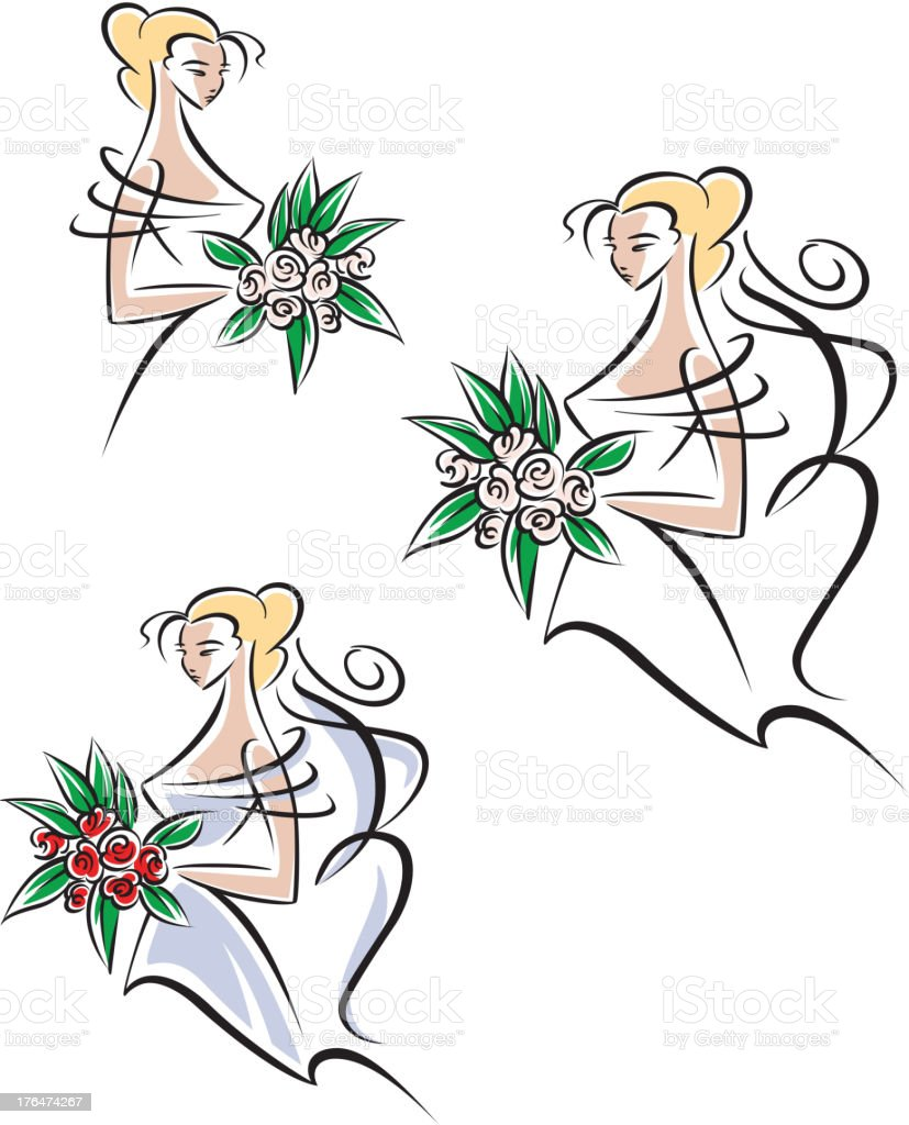 Beautiful and pretty bride royalty-free stock vector art