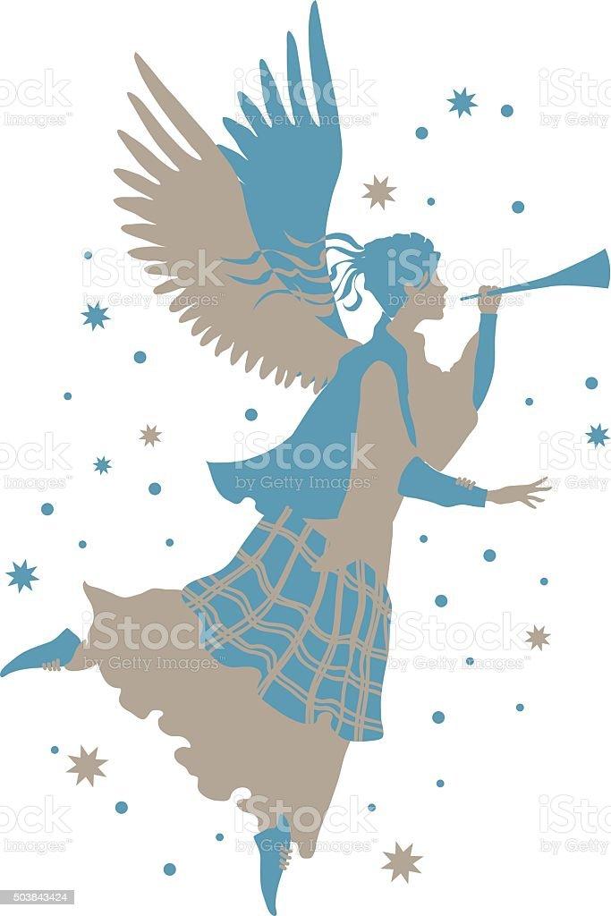 Beautiful angel silhouette vector art illustration