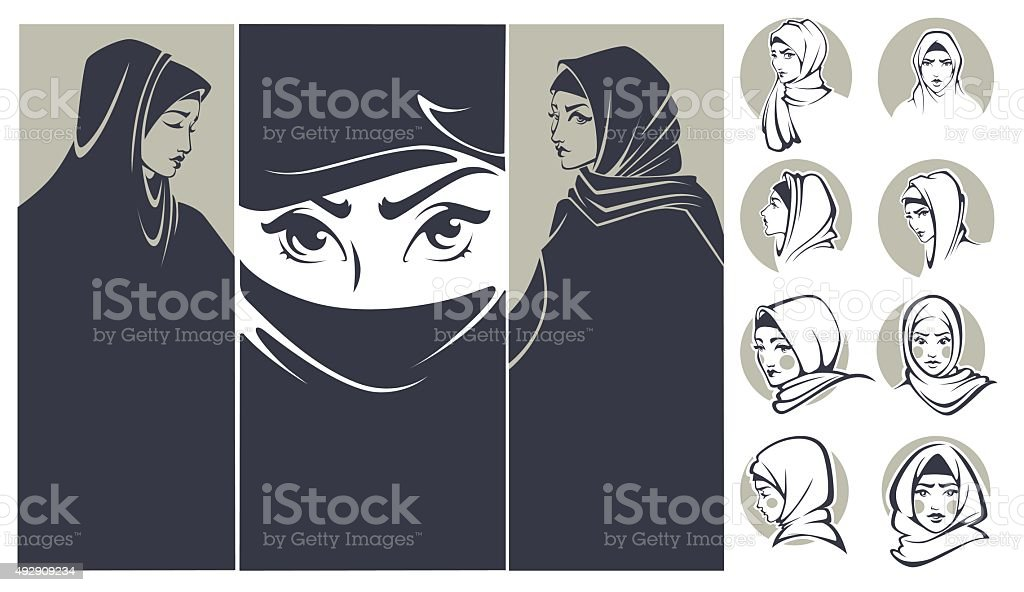beautiful arabian girls collection, banners and portraits vector art illustration