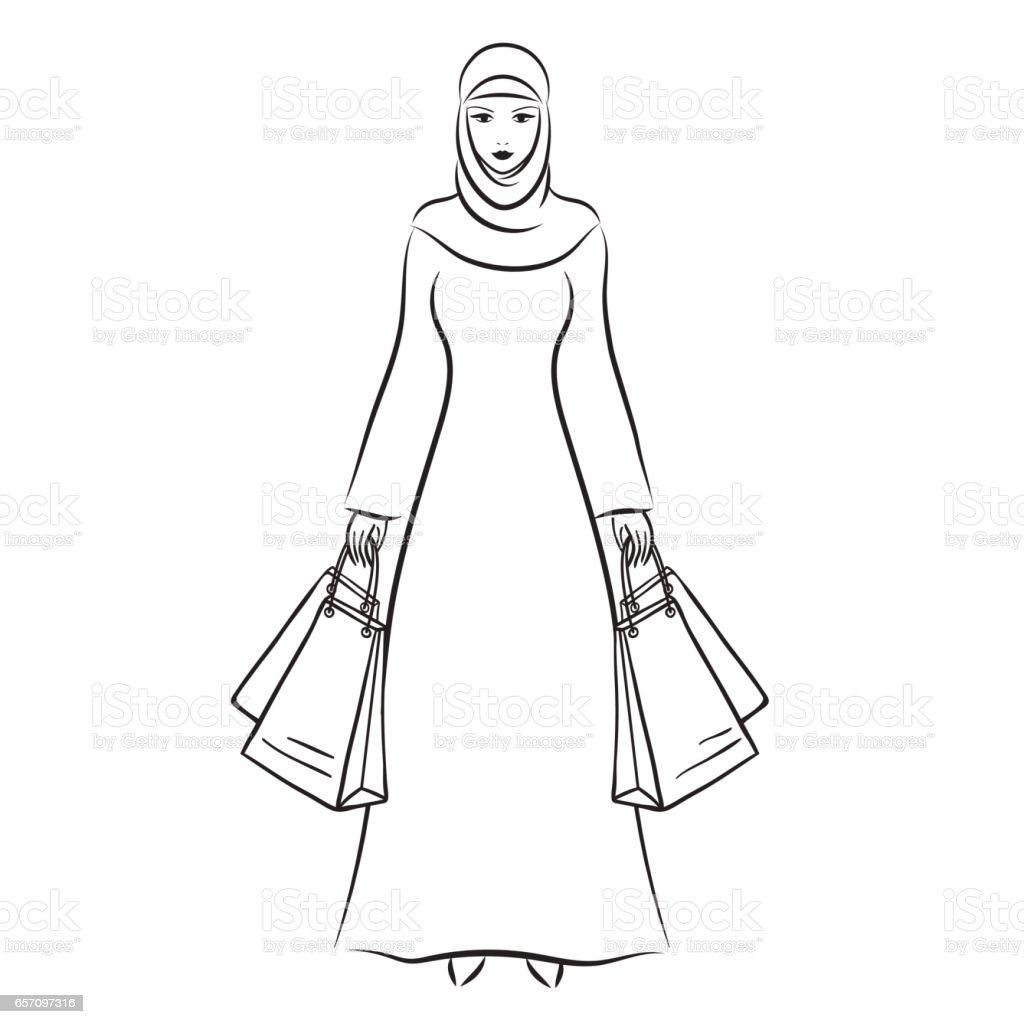 Beautiful arabic muslim woman vector illustration vector art illustration
