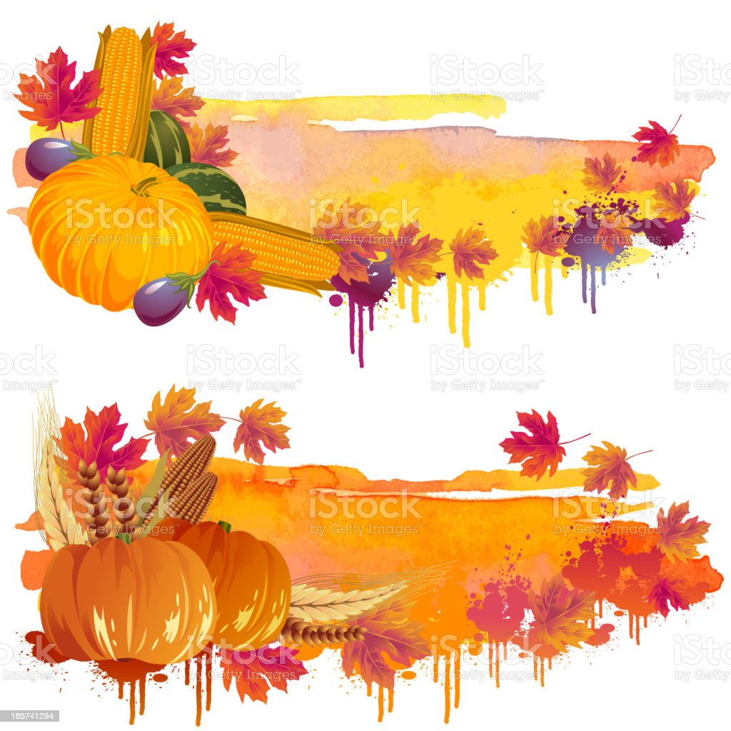 Beautiful Autumn Backgrounds/Banners vector art illustration