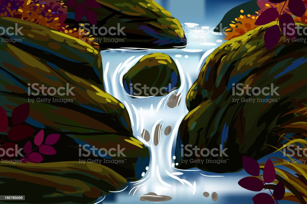 Beautiful Autumn Background/Water Fall royalty-free stock vector art
