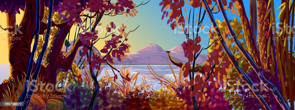 Beautiful Autumn Forest royalty-free stock vector art