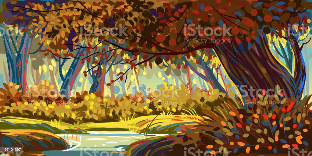 Beautiful Autumn Forest vector art illustration