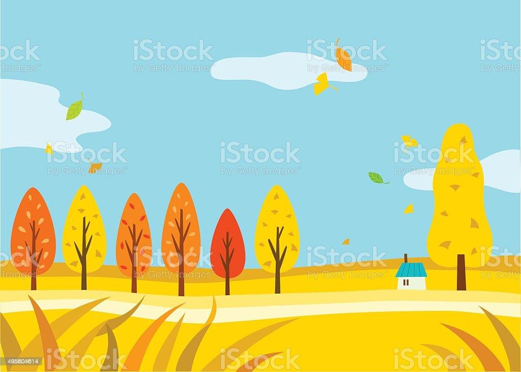 Beautiful Autumn Landscape vector art illustration
