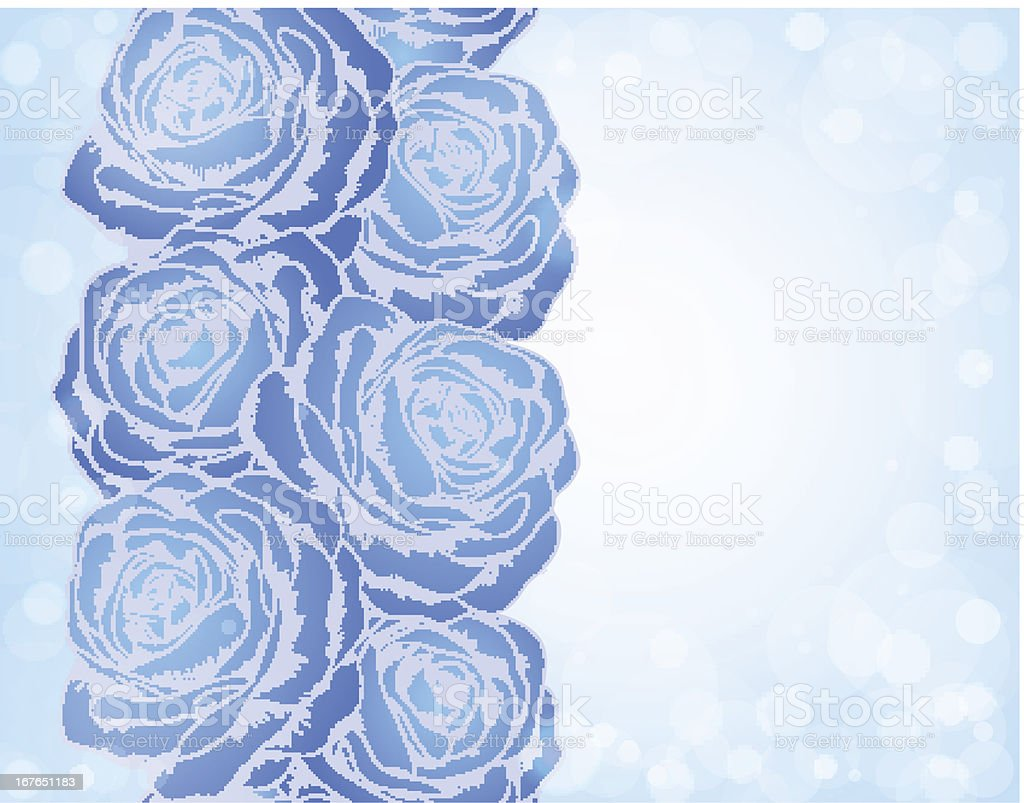Beautiful background with blue roses and bright sparkles bokeh royalty-free stock vector art