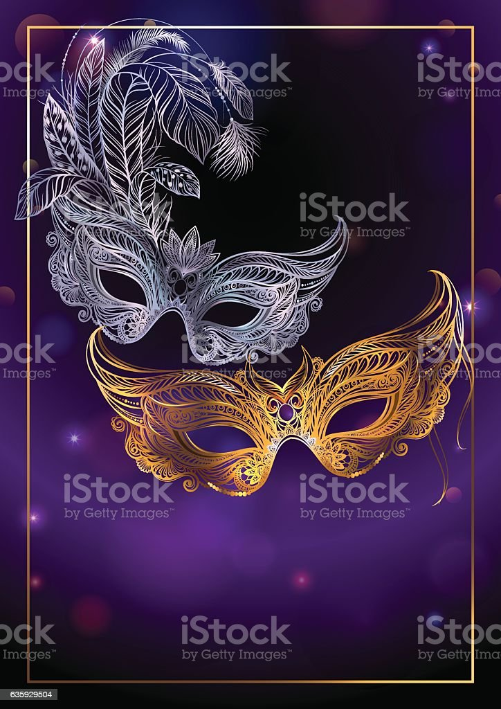 Beautiful background with two carnival or theatrical masks. vector art illustration