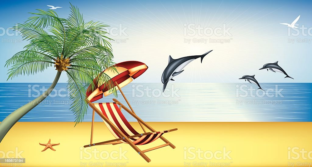 Beautiful Beach with Dolphins royalty-free stock vector art