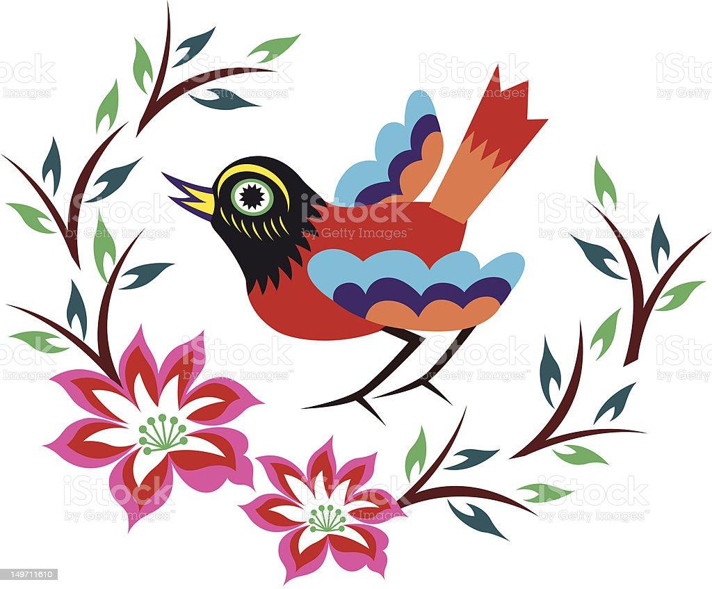 design bellissimo uccello Emblema illustrazione royalty-free