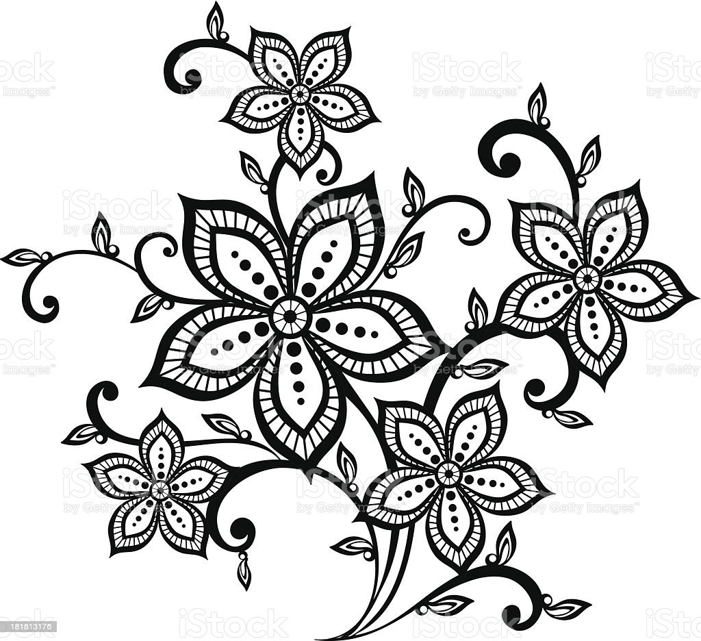 beautiful black and white floral pattern design element. royalty-free stock vector art