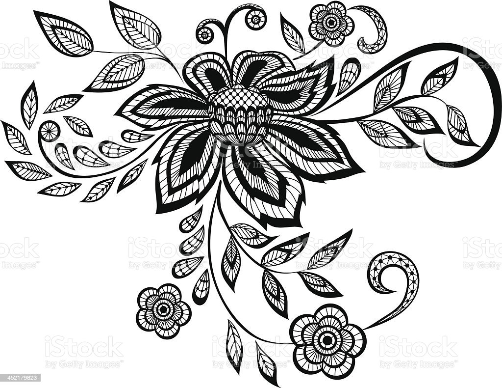 beautiful black and white floral pattern design element royalty-free stock vector art