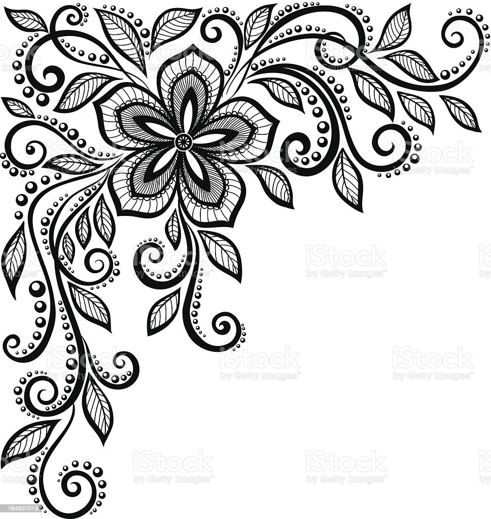 beautiful black-and-white lace flower in the corner. vector art illustration