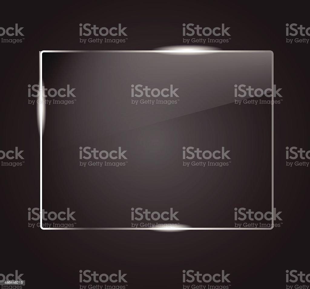 Beautiful blank shining glass banner on a dark background VECTOR vector art illustration