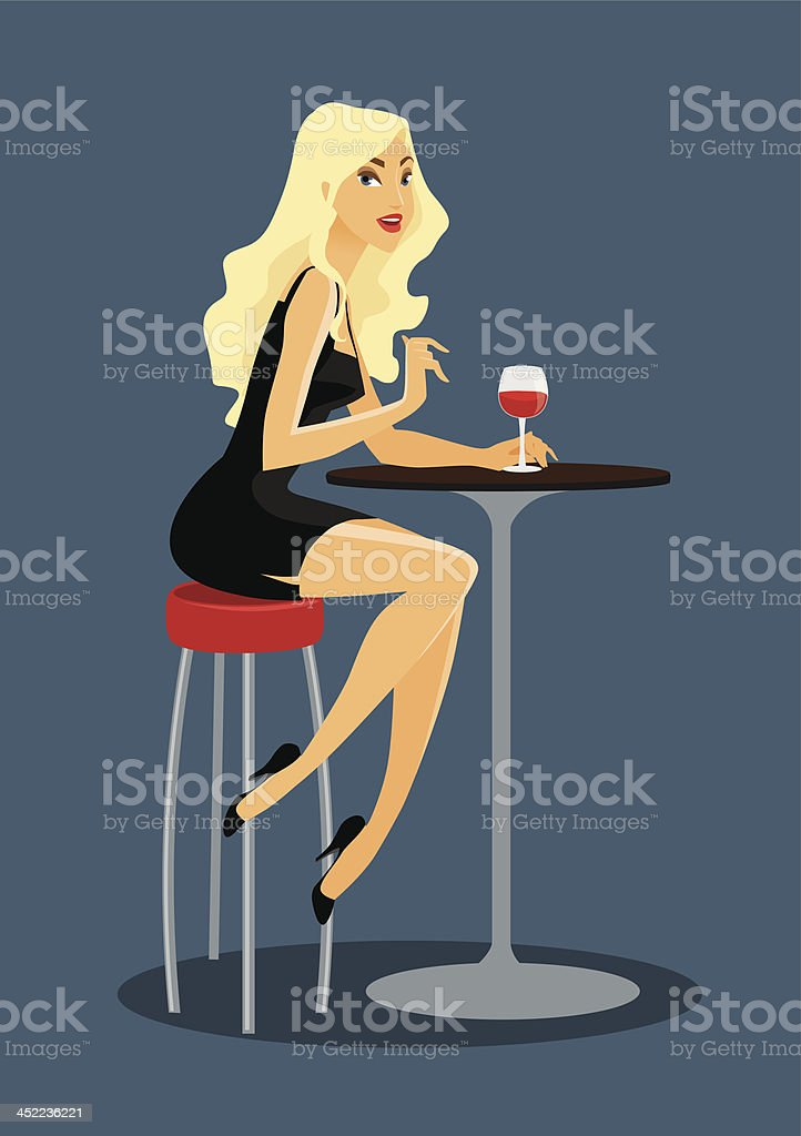Beautiful blond girl sitting in the bar with wine royalty-free stock vector art