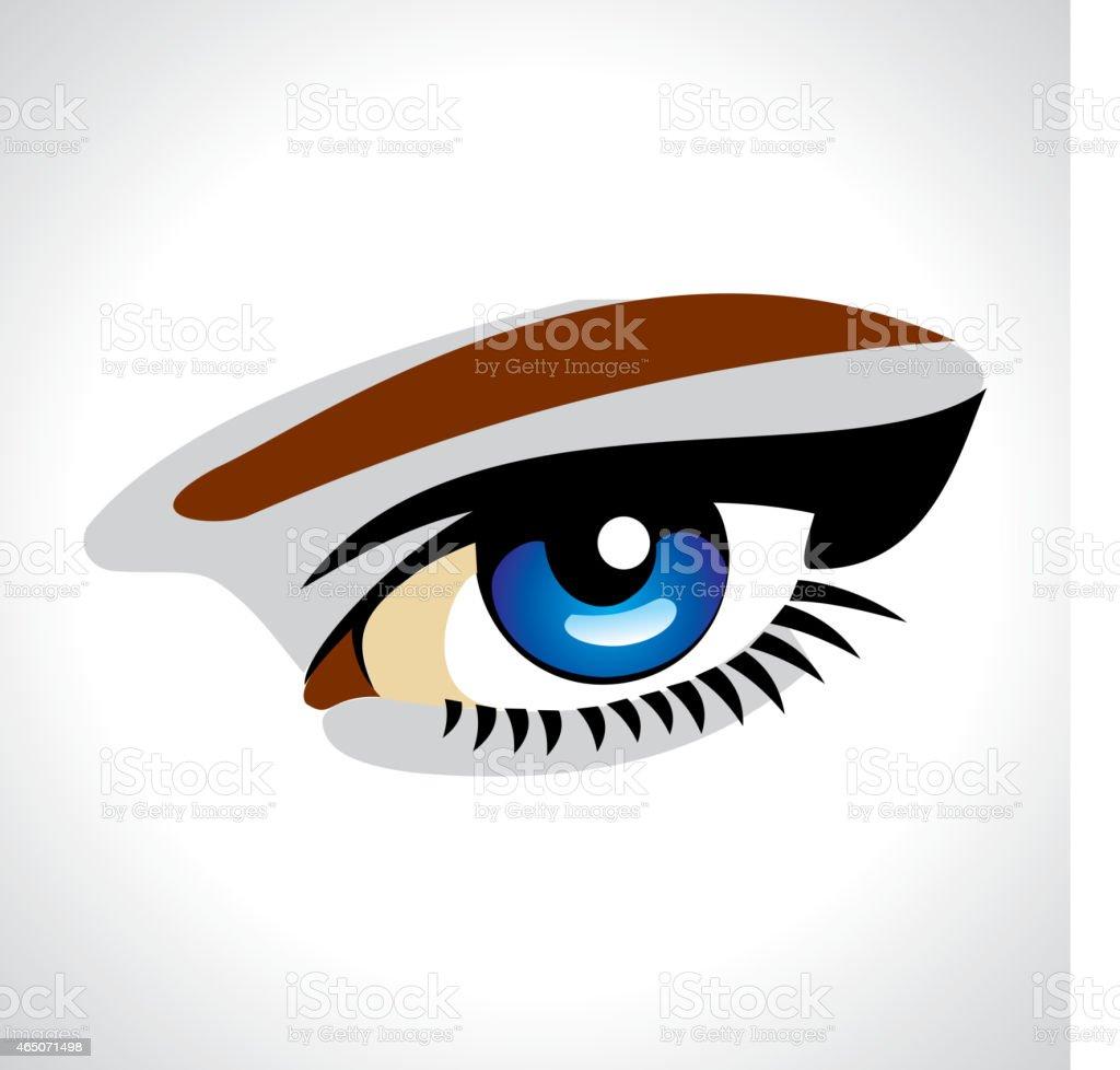 Beautiful blue eye vector art illustration