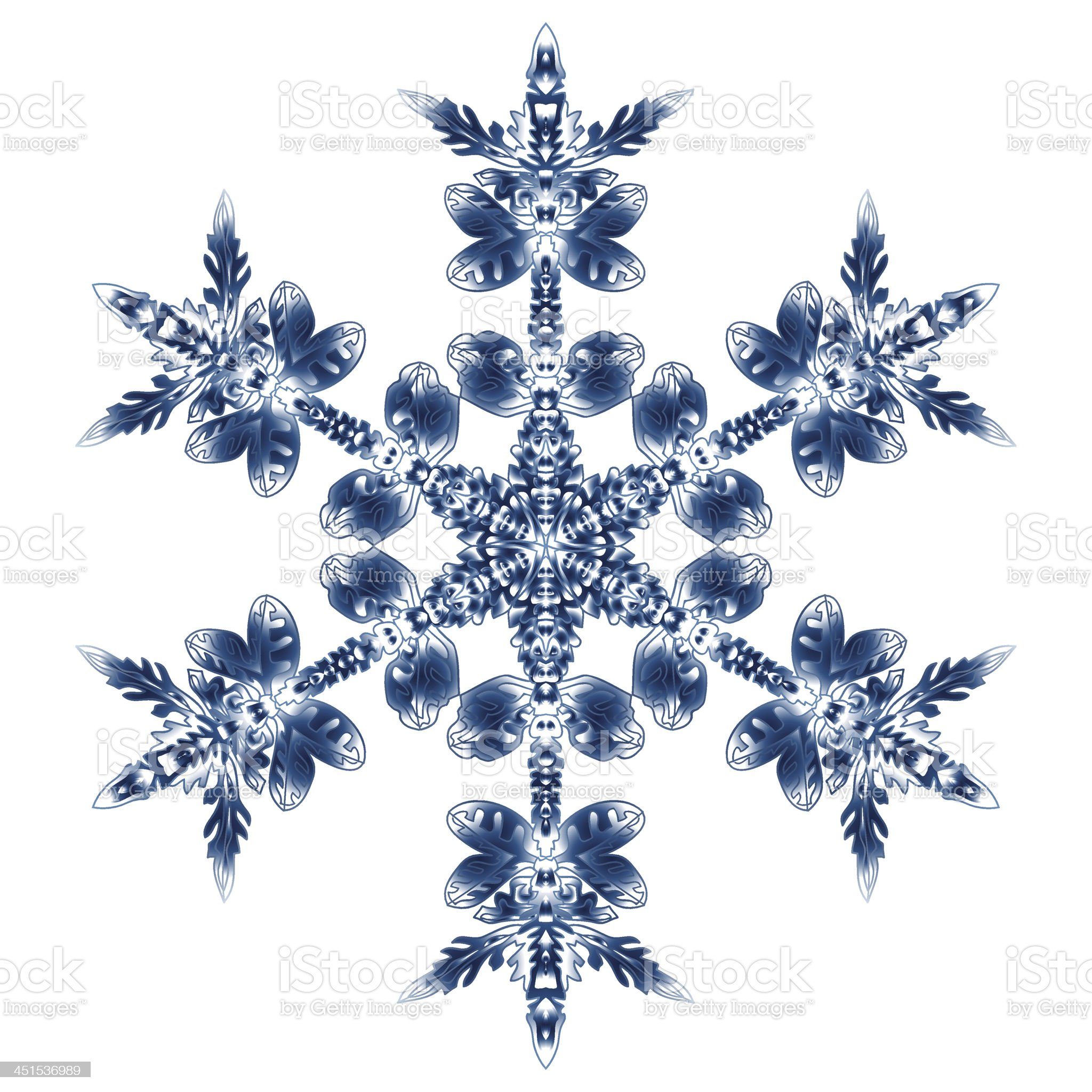 Beautiful Blue Snowflake. Isolated On White Background royalty-free stock vector art