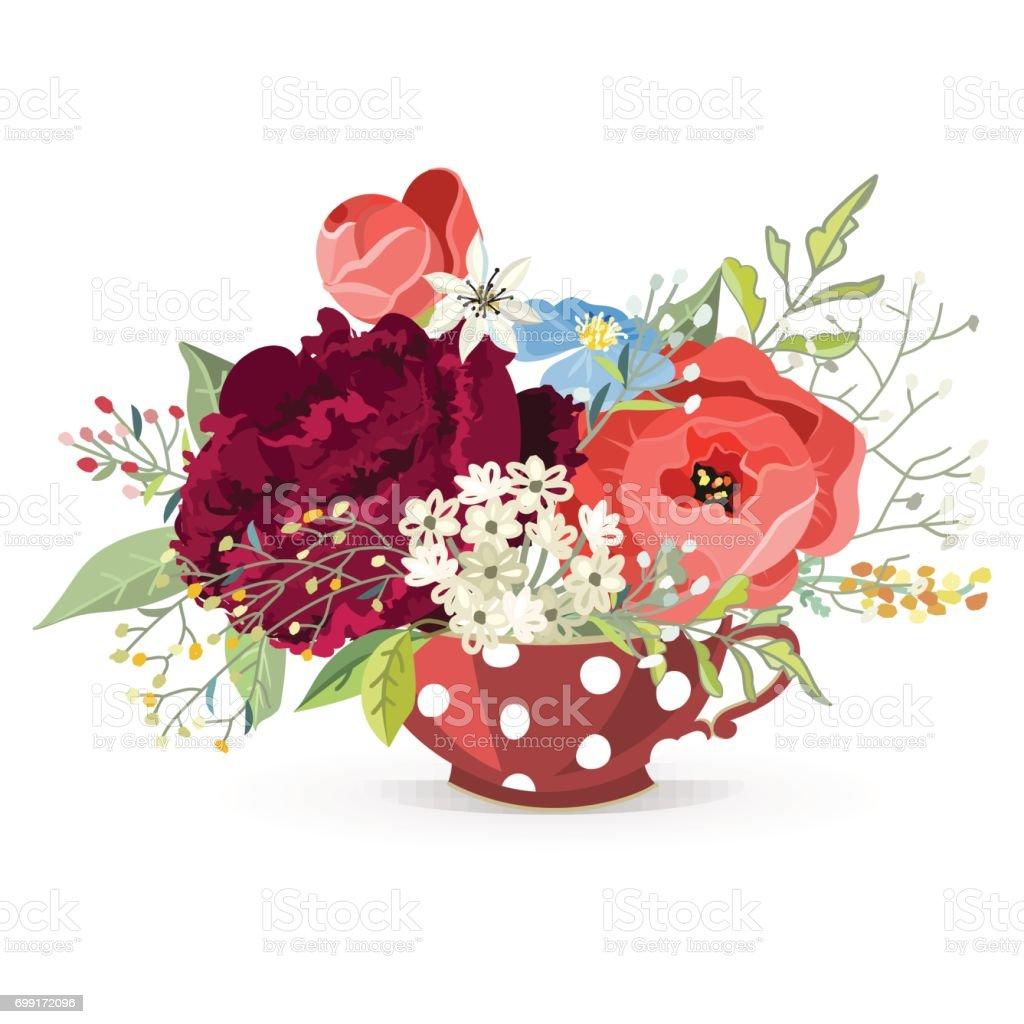 Beautiful Bouquets Of Flowers stock vector art 699172096   iStock