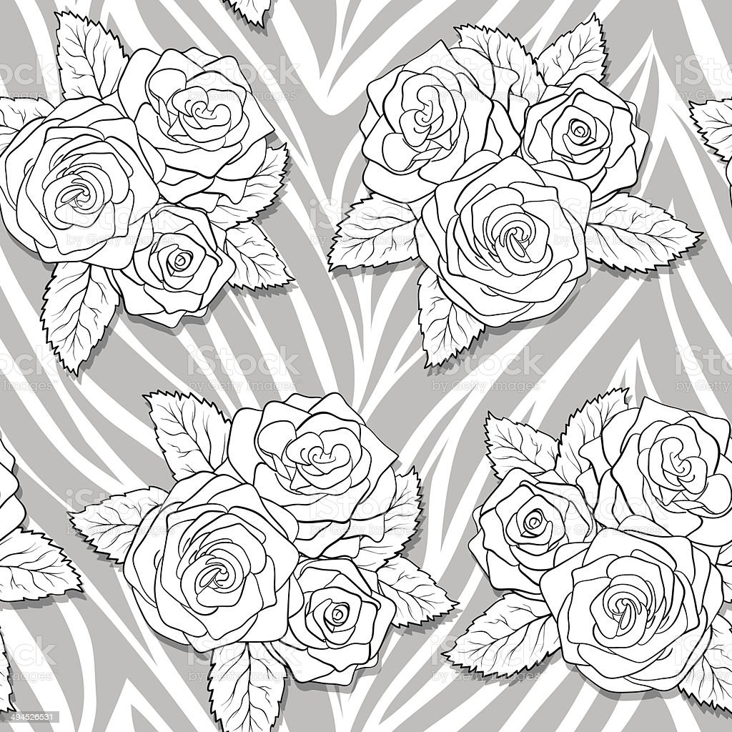 beautiful bouquets of roses on animal abstract print. Seamless pattern royalty-free stock vector art