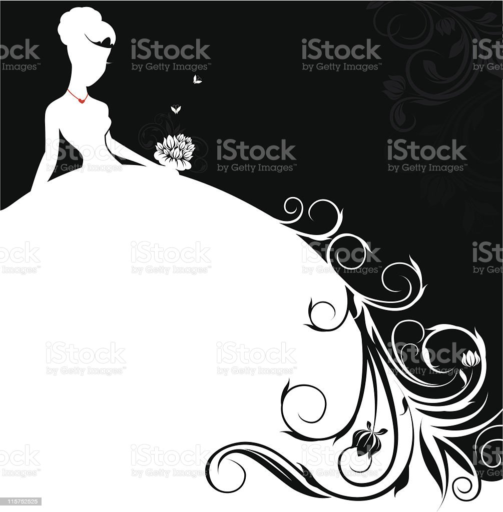 beautiful bride banner vector art illustration