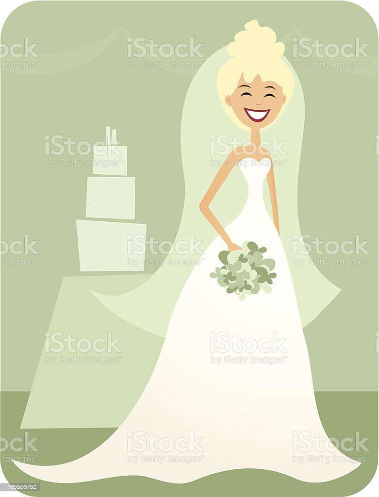Beautiful Bride Cartoon in a retro style royalty-free stock vector art