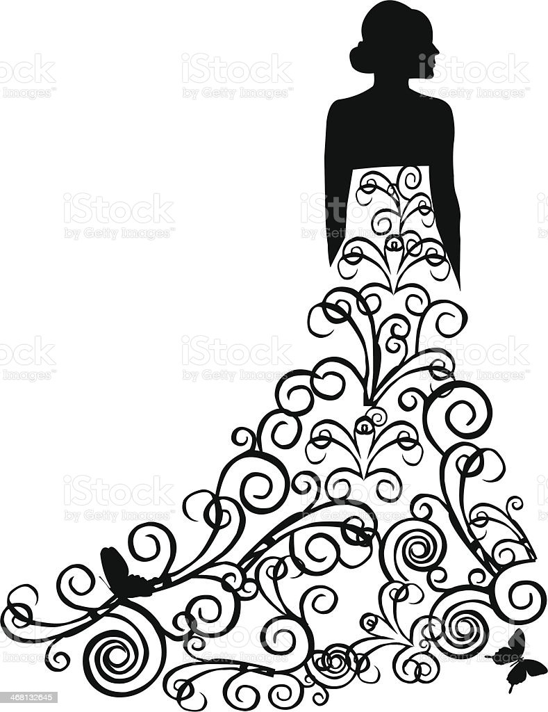 Beautiful bride in dress with swirls vector art illustration