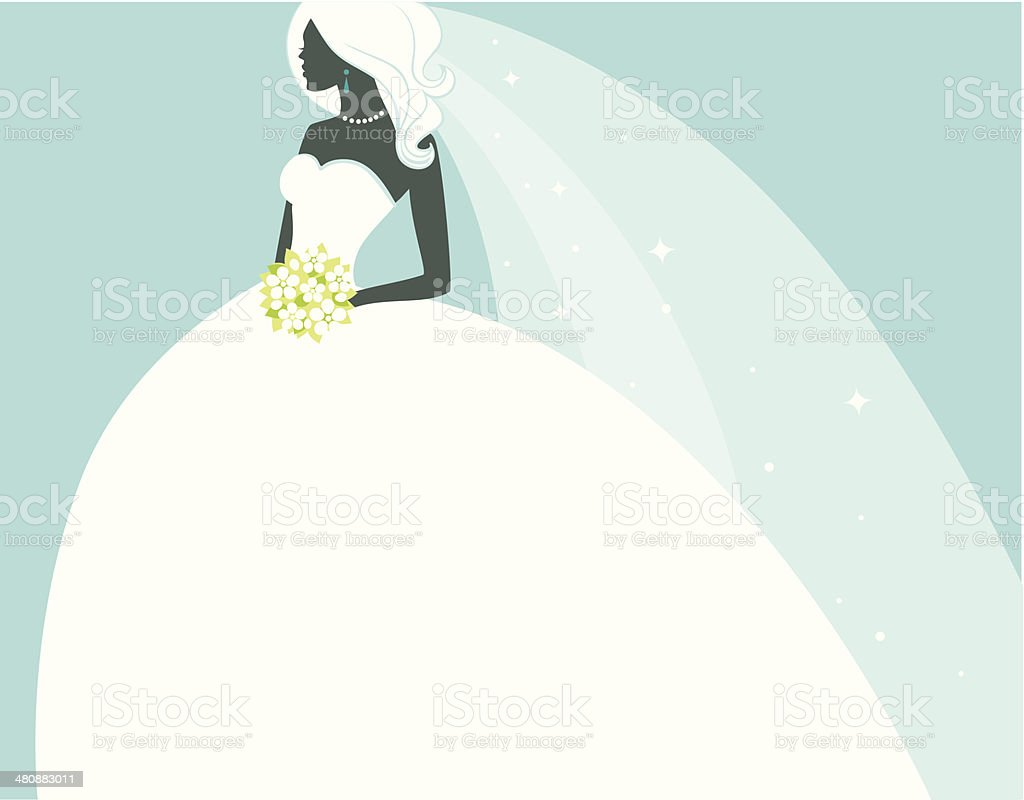 Beautiful bride in white dress vector art illustration