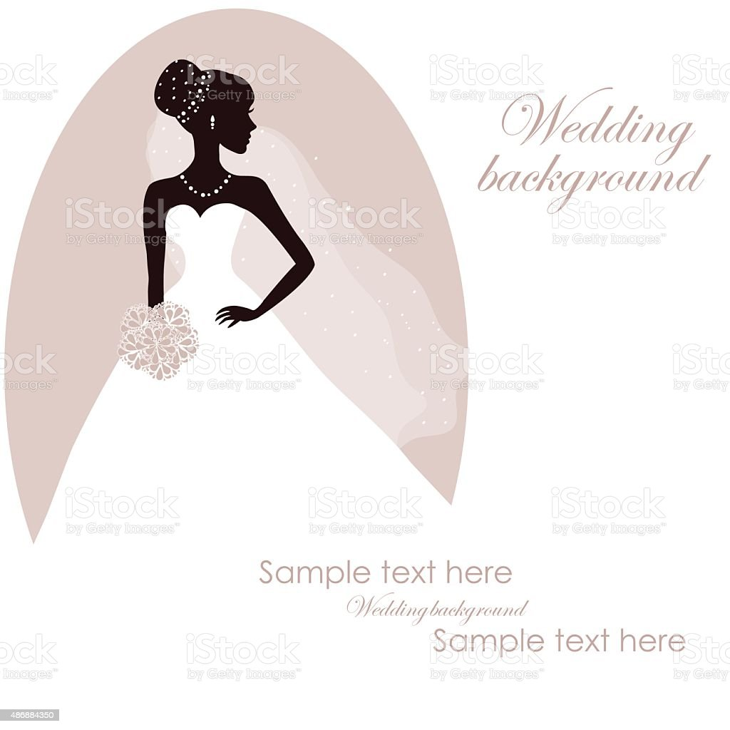 Beautiful bride with bouquet on gray background vector art illustration