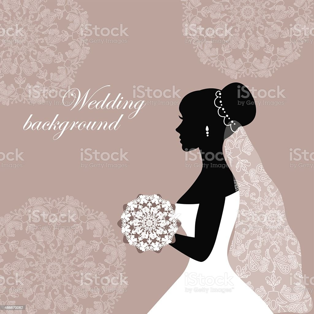 Beautiful bride with lace vector art illustration