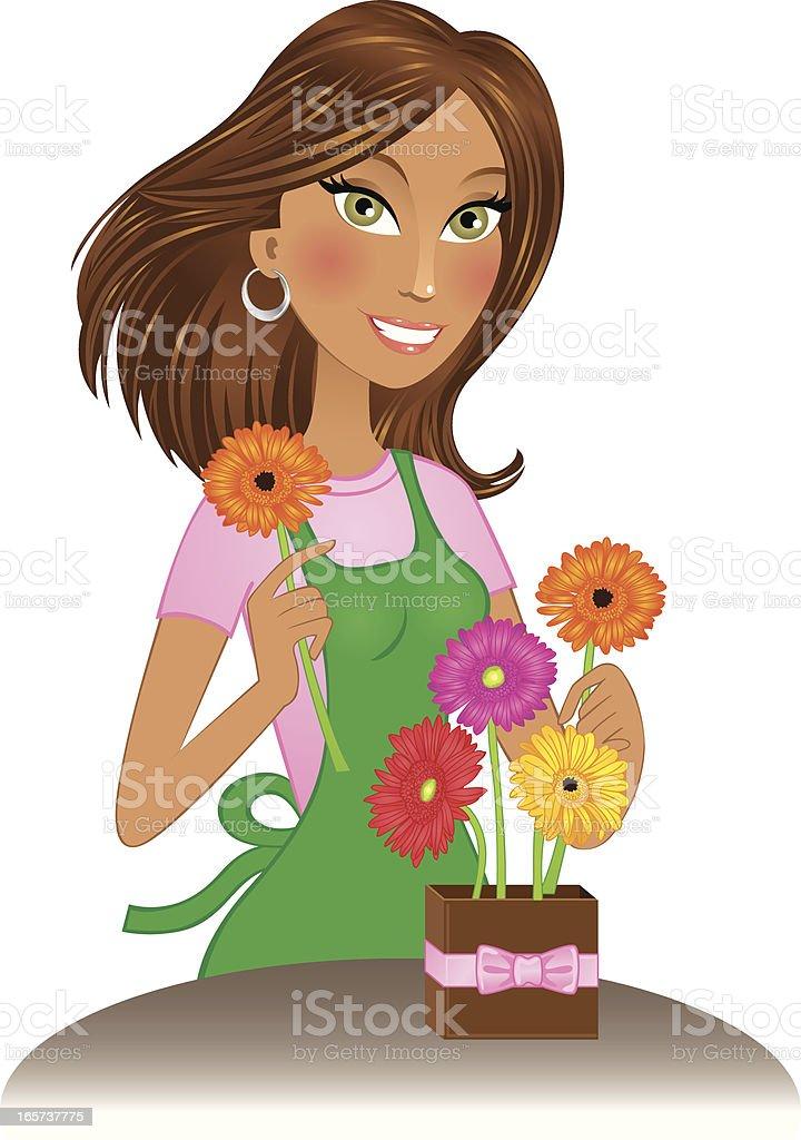 Beautiful brunette florist arranging gerbera daisies royalty-free stock vector art