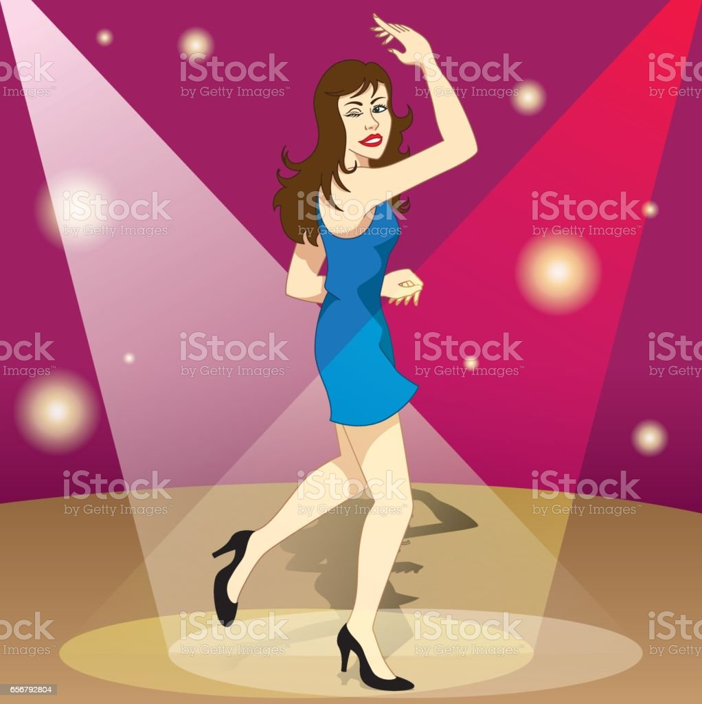 Beautiful brunette happy girl dancing happily the night in the ballad. Ideal for promotional and institutional materials vector art illustration