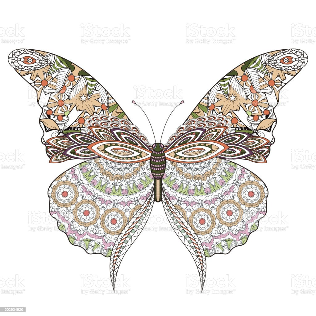 beautiful butterfly coloring page vector art illustration