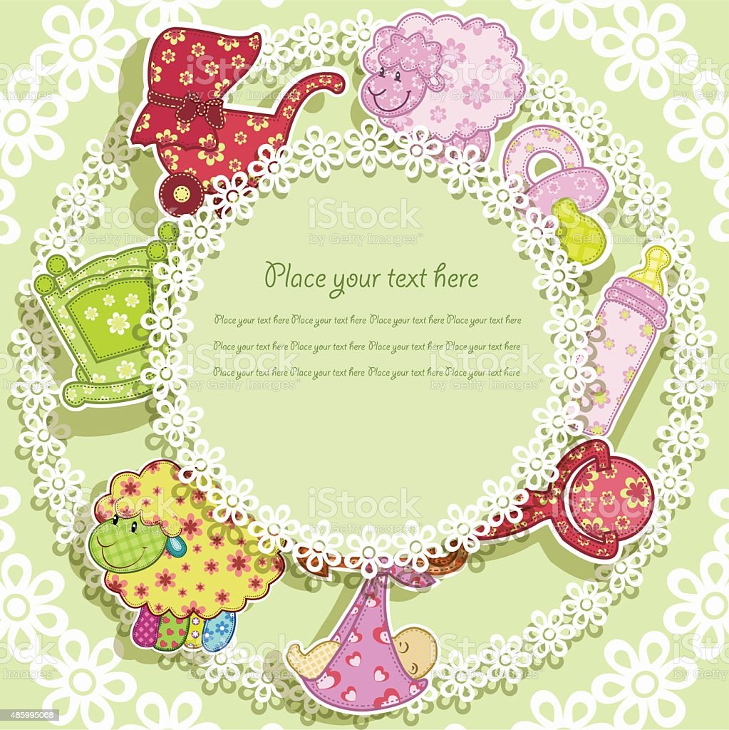 Beautiful card with a set for the baby vector art illustration