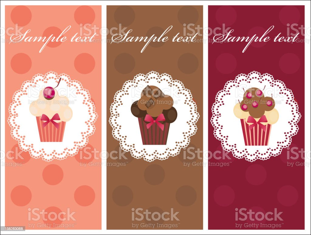 Beautiful card with sweet cupcakes. royalty-free stock vector art