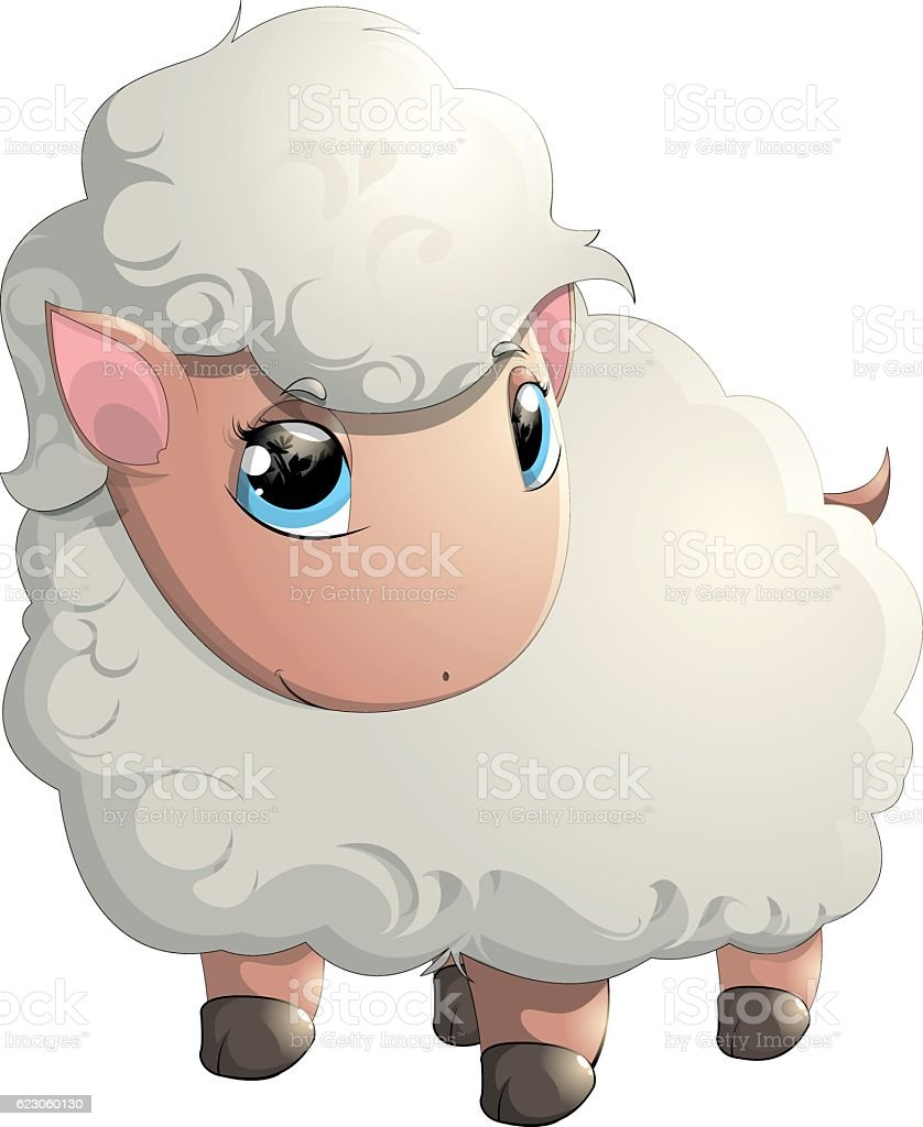 beautiful cheerful sheep vector art illustration