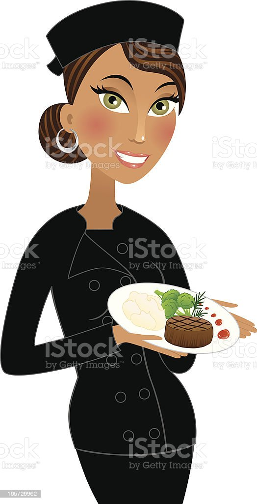 Beautiful chef in black holding gourmet dinner royalty-free stock vector art