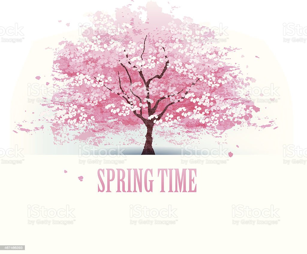 Beautiful cherry blossom tree vector art illustration