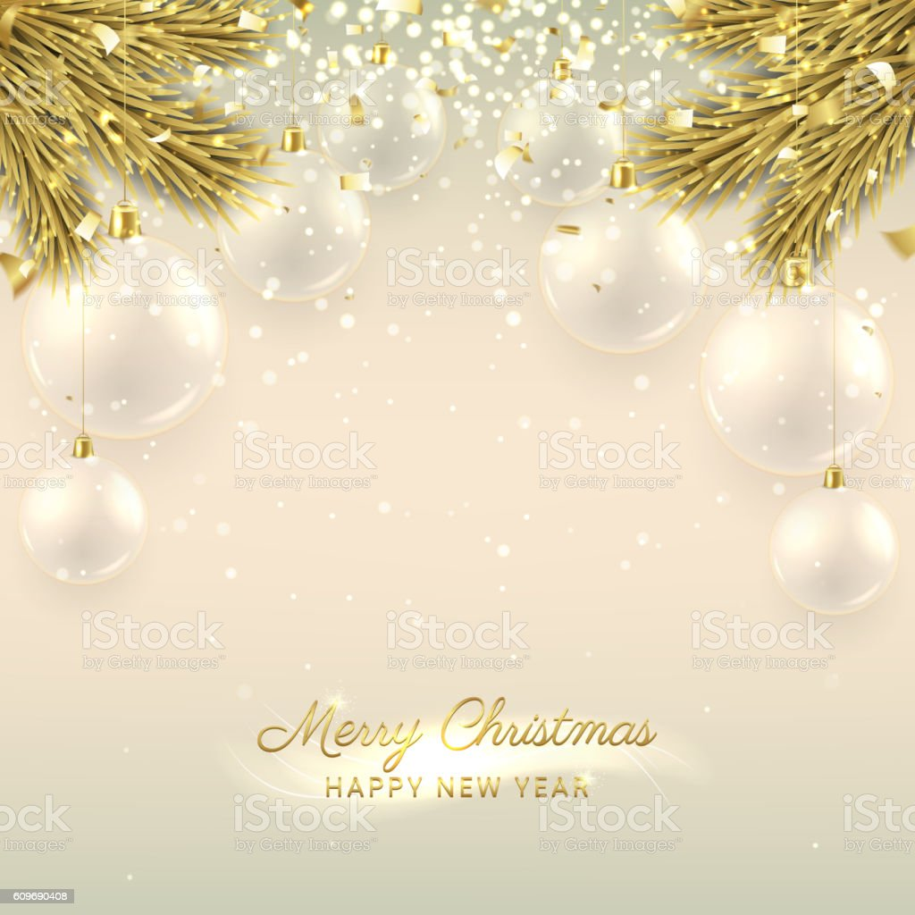 Beautiful Christmas banner with glass balls royalty-free stock vector art