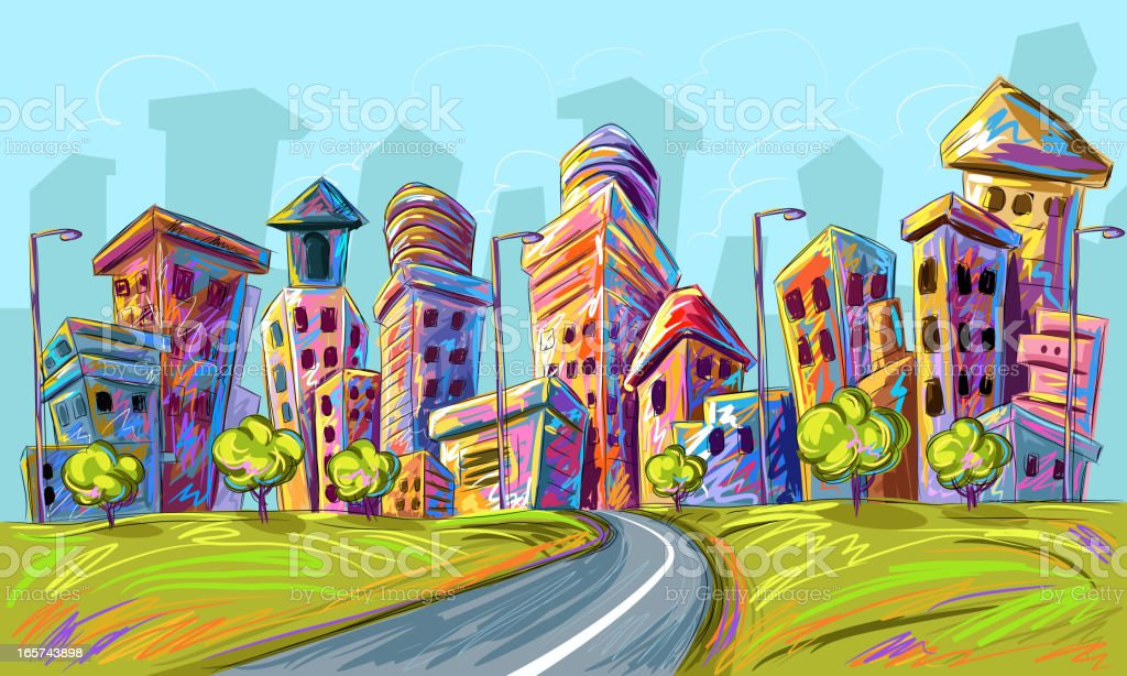 Beautiful City Background royalty-free stock vector art