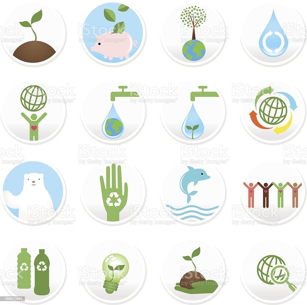 Beautiful Concept Icon Set: Green, Environmental Conservation, Sustainability vector art illustration