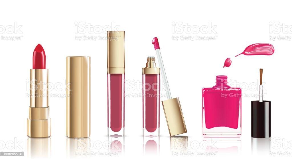 Beautiful Cosmetic Set In Gold Lipstick Lip Gloss And Nail Polish ...