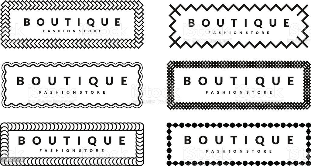 Beautiful Creative Borders Design Template Set For Hipsters Fashion Boutique vector art illustration