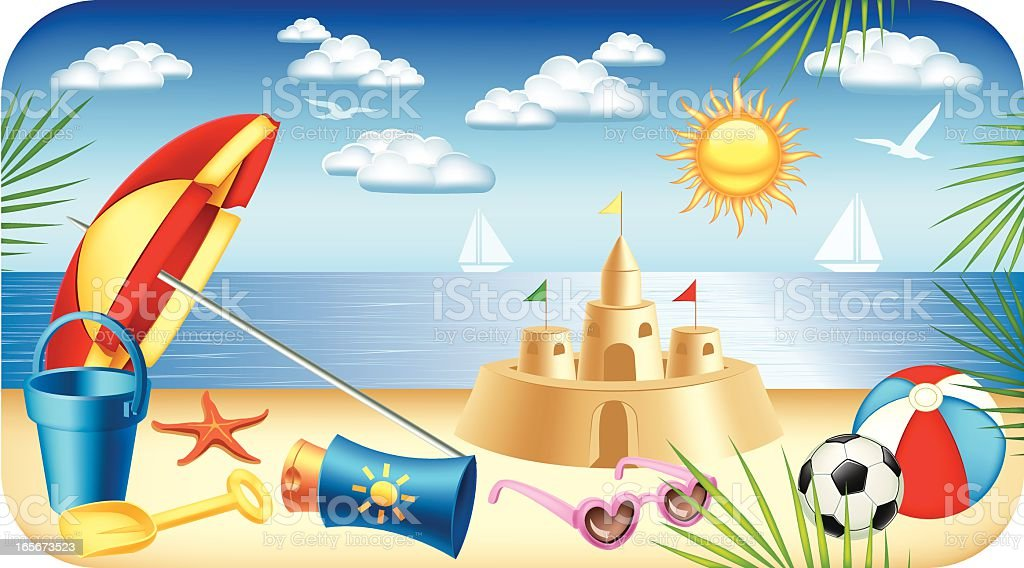 Beautiful day on the beach royalty-free stock vector art