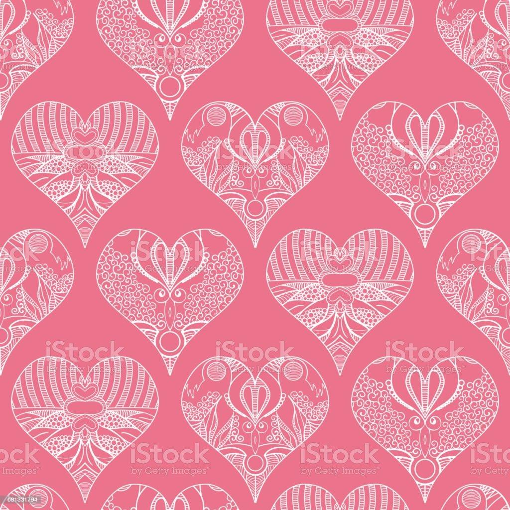 Romantic vector seamless background greeting card wallpaper vector art - Beautiful Decorative Vector Seamless Pattern With Hearts Romantic Love Valentine Design Retro Vintage Texture