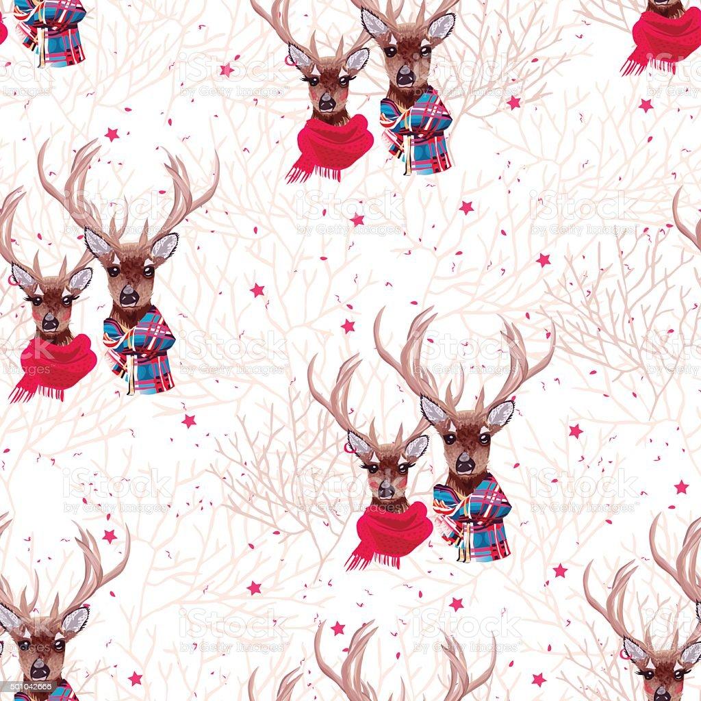 Beautiful deer wearing winter scarves seamless vector print vector art illustration