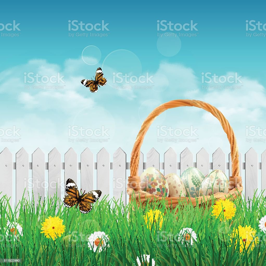 Beautiful Easter basket on a field vector art illustration
