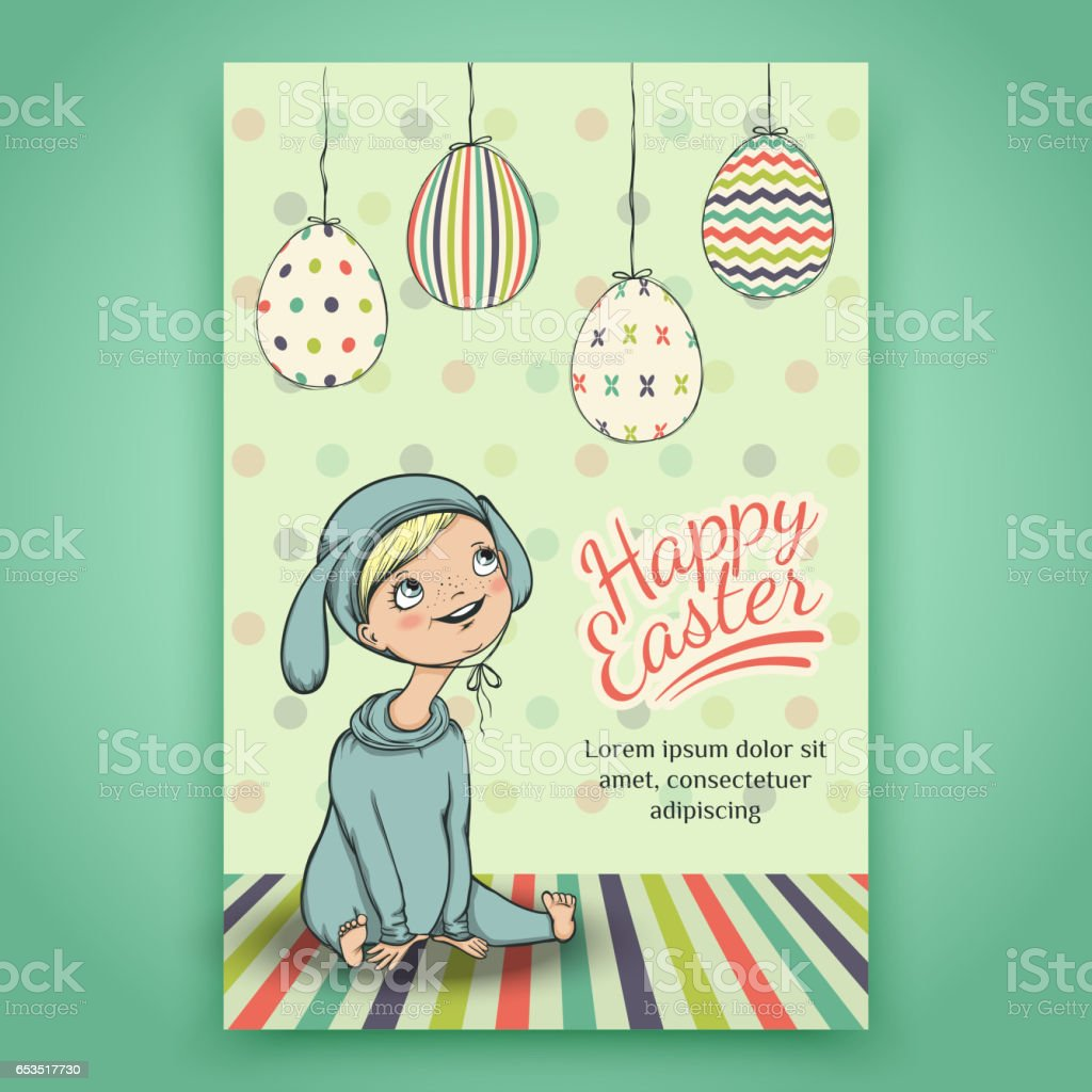Beautiful Easter card with baby in bunny costume vector art illustration